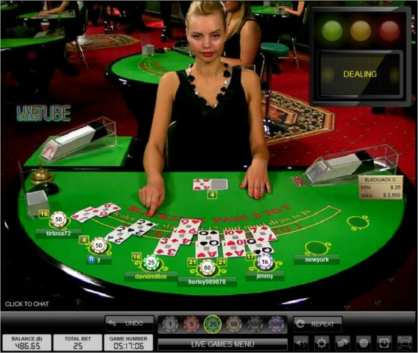 Olga dealing at Party Casino